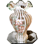 Fenton 1996 Meadow Beauty PD French Opalescent Rib Optic 9 inch Hexagonal Vase w/ Azaleas HP