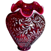 Fenton Cranberry Opalescent Daisy & Fern Four Seamed Vase with Plumes on Seams