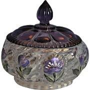 Fenton 1998 Lavender Petal Collection - The Trinket Box 6 inch diameter with Purple Lid