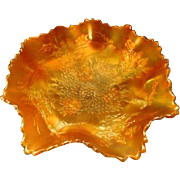 """Fenton Vintage Marigold Carnival Fluted/Ruffled Stag """"n"""" Holly Bowl"""