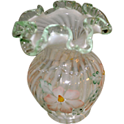 "Fenton Meadow Beauty Collection French Opalescent Spiral Optic with Azaleas vase ""beaded"""