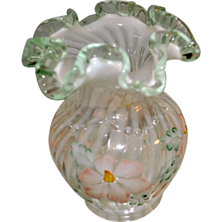 """Fenton Meadow Beauty Collection French Opalescent Spiral Optic with Azaleas vase """"Beaded Exterior"""""""