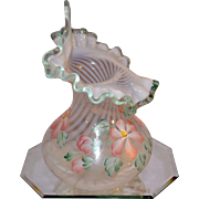 Fenton Vintage 1996  Meadow Beauty PD Tulip or  Jack in the Pulpit Vase with Willow Green Crest