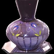 """Fenton """"HTF"""" 2007 Connoisseur Collection """"Deco Floral"""" Mulberry Vase Lmt. Ed."""