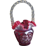 Fenton  1994 QVC #CV07048 Cranberry Opalescent 8 1/2 inch Open Heart Arches Basket Family Signatures