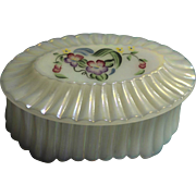 Fenton Oval Ribbed Floral Trinket Box