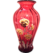 Fenton Special Order Lmt Edition 1500/121 Pansies on Cranberry Collection CW 1994 - 1999 Fine Rib Vase