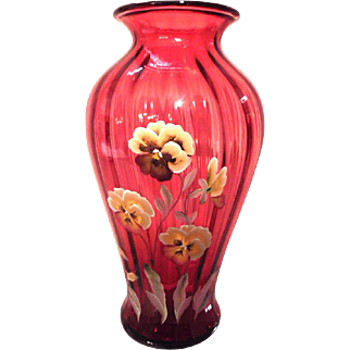 Fenton Special Order Lmt Ed 1500/121 Pansies on Cranberry Collection CW 1994 - 1999 Fine Rib Vase *FS Domestic