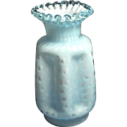 Fenton Opaque Blue Overlay Bubble Optic Pinched Vase 8 inches tall with single crimp ribbon edge (Fenton Rarities)