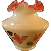 Fenton 1992 QVC CV005 8P, Peach Crest Hand Decorated Vase Signed