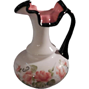 "Fenton QVC ""vintage"" 1991 WC Fenton Black Rose Milk Glass Pitcher"