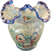 Fenton QVC Iridized Blue Opal Open Heart Arches Vase- Martha Reynold