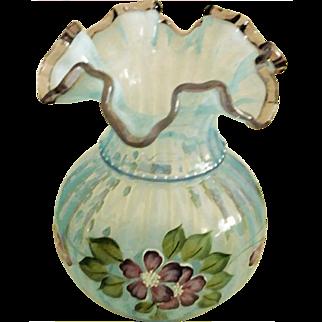 Fenton QVC Misty Blue Opalescent Rib Optic Vase Plum DC Crest HP Floral