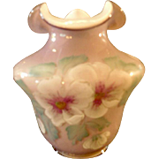Fenton QVC, 2001, Violet Overlay Squat Vase, Artist signed