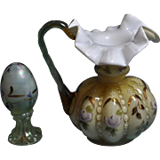 """Fenton """"Rare"""" White Cased Amber Beaded Melon Pitcher HP Floral """"Signing Event"""""""