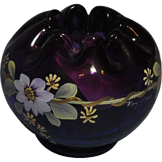 Fenton made for QVC, 1998,  75th Anniversary Royal Purple on Colonial Scroll Rose Bowl Bill Fenton Signature