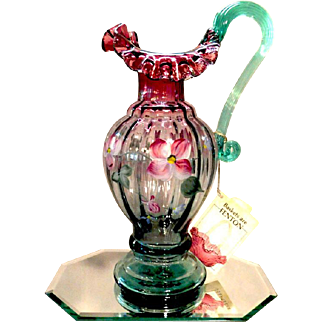 Fenton 1995 DON FENTON EWER PITCHER Rudy Verde Floral Historic Collection