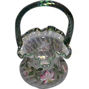 Fenton 6/95 QVC Fr. Opal Spiral Optic Basket with Sea Green Handle and Crest CFP