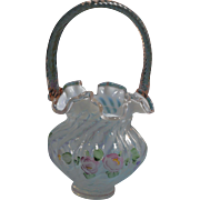 Fenton for QVC 1997 Fr. Opal. Spiral Optic 10 in. Basket Rose Crest and Rose reed handle