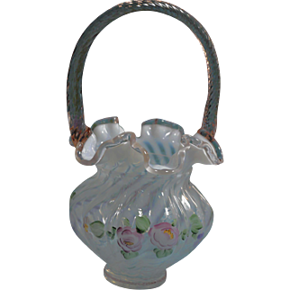Fenton for QVC 1997 Fr. Opal. Spiral Optic 10 in. Basket Rose Crest and Rose reed handle CFD