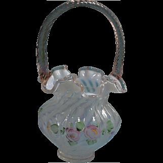 Fenton for QVC 1997 Fr. Opal. Spiral Optic 10 in. Basket Rose Crest and Rose reed handle L@@K