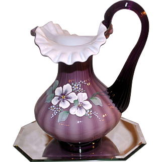 Fenton 1997 Sweet Briar On Plum Overlay P9 Pitcher 7.5 inches