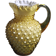 Fenton 6 inch tall 1964 Honey Amber Hobnail 12 oz. Syrup Pitcher Crimped Top Edge (found in Fenton Rarities)