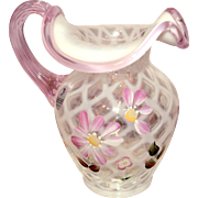Fenton Trellis DX Daisy Lane 1996 - 98 6.5 inch Pitcher Pink Crest and Reed Handle