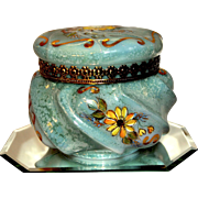 Fenton 1992 Connoisseur Collection Jackie Burton Design Marbled Lustre Covered Wave Crest Box