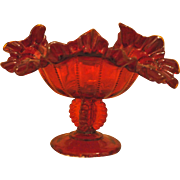 Fenton Christmas 1940s' Ruby Red Beaded Panel Compote Flame & Crimped Ruffle