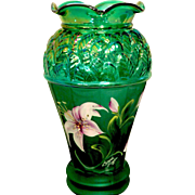 Fenton QVC 2001 Iridized Emerald Green Vase - Designer Showcase Series