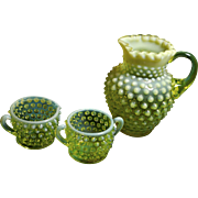 Fenton Yellow Opalescent Hobnail 12 oz, Syrup Pitcher (Fenton Rarities) Creamer and Sugar Bowl