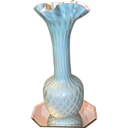 Phoenix 1890 antique 13.5 inches tall Mother of Pearl satin finish Quilted Gorgeous Ruffled Vase