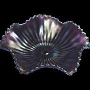 Northwood Vintage Smooth Ray Purple Amethsyt Carnival Six Ruffle Bowl - Red Tag Sale Item