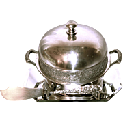 Charles Steiff & Sons Sterling Butter Knife with plated lidded Butter Dish (4 pcs.) circa 1940