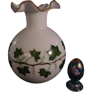 Tyndale AWCO decorated Ivy Pattern Milk Glass 22 K gold accent hug vase