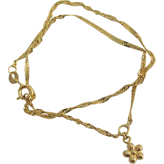 Signed 14 kt Gold Anklet With Flower Charm