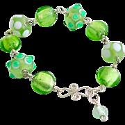 Lampworked Glass Bead & Sterling Silver Bracelet