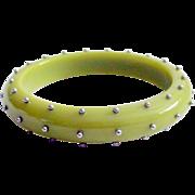 Celluloid Studded Bangle Bracelet 1970's