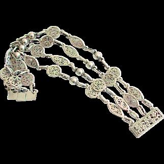 Sterling Silver, 4 Link Filagree Bracelet