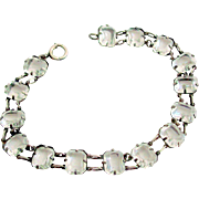 Early 1900's Clear Rhinestone Sterling Silver Bracelet