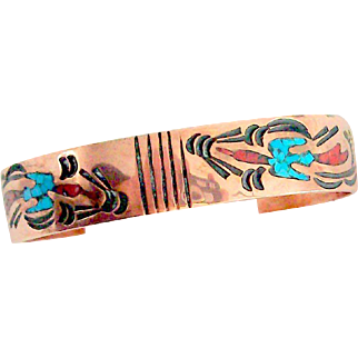 Navajo Signed Coral & Turquoise Copper Cuff