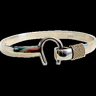 Horseshoe Hook Signed 14kt & Sterling Silver Bracelet