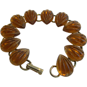 Scalloped, Molded Lucite Cabochon Bracelet