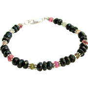 Gem Grade Black, Pink & Green Tourmaline Bracelet