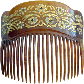 Antique Back Comb 18 KT. Gold Inlaid & Rhinestones in Box