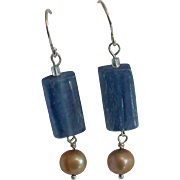Natural Kyanite & Cultured Freshwater Pearl Sterling Silver Earrings