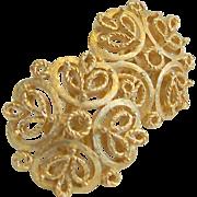 Crown Trifari Signed Filigree Gold Tone Earrings