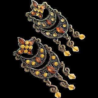 Rhinestone Chandelier Earrings in Bronze Studs 1960's
