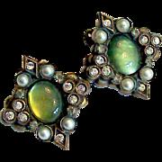 Early Sorrelli Green Cabochon Faux Pearl Earrings